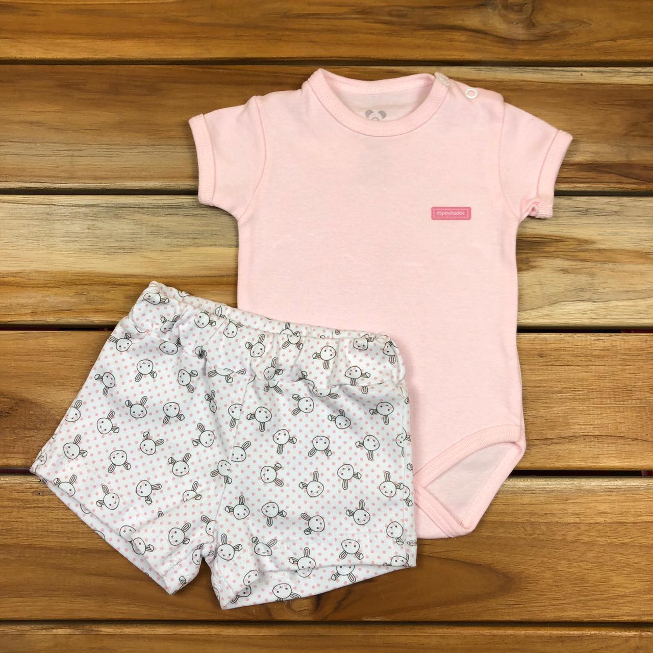 Conjunto Curto Bebê Rosa