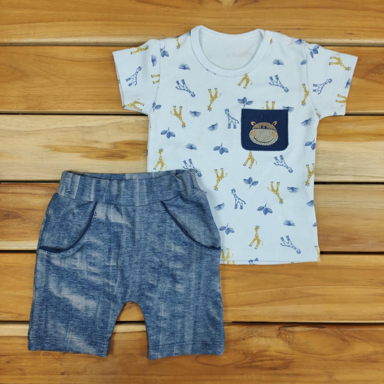 Conjunto Curto Bebê Azul de Safari