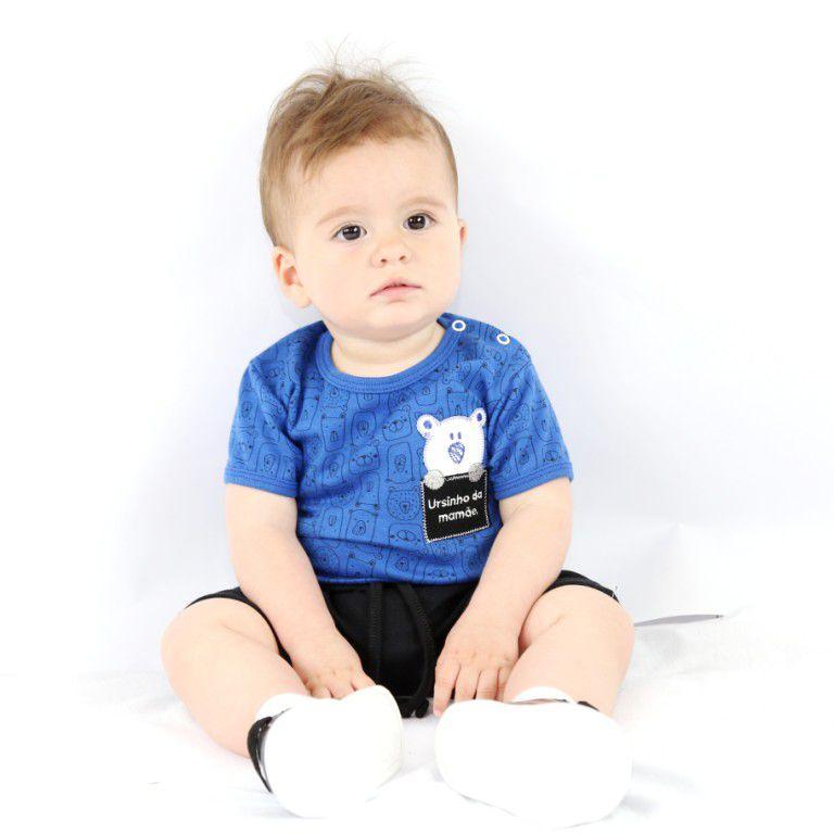 Conjunto Curto Bebê Azul de Ursos