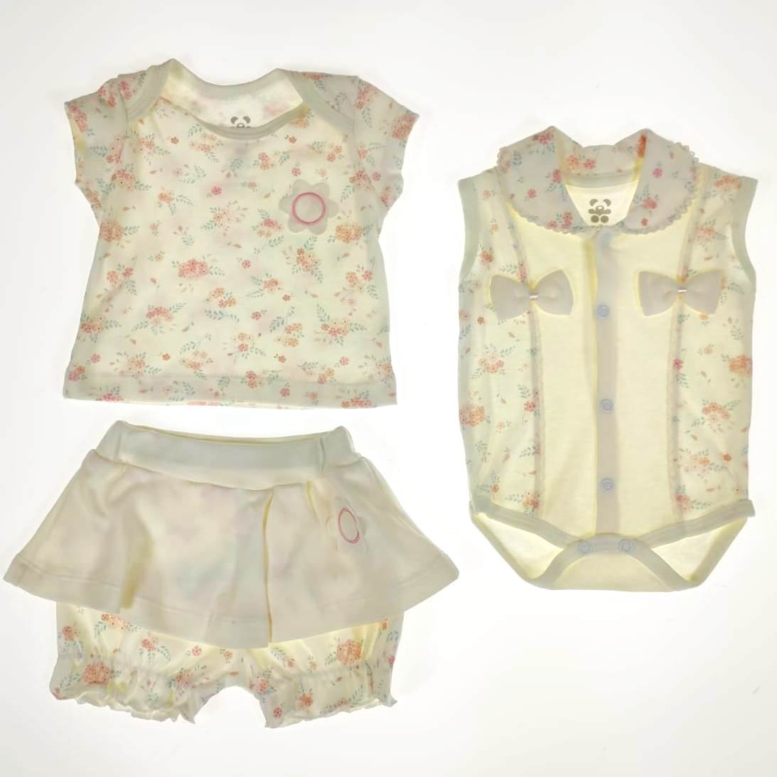 Conjunto Curto Bebê Cru Flores