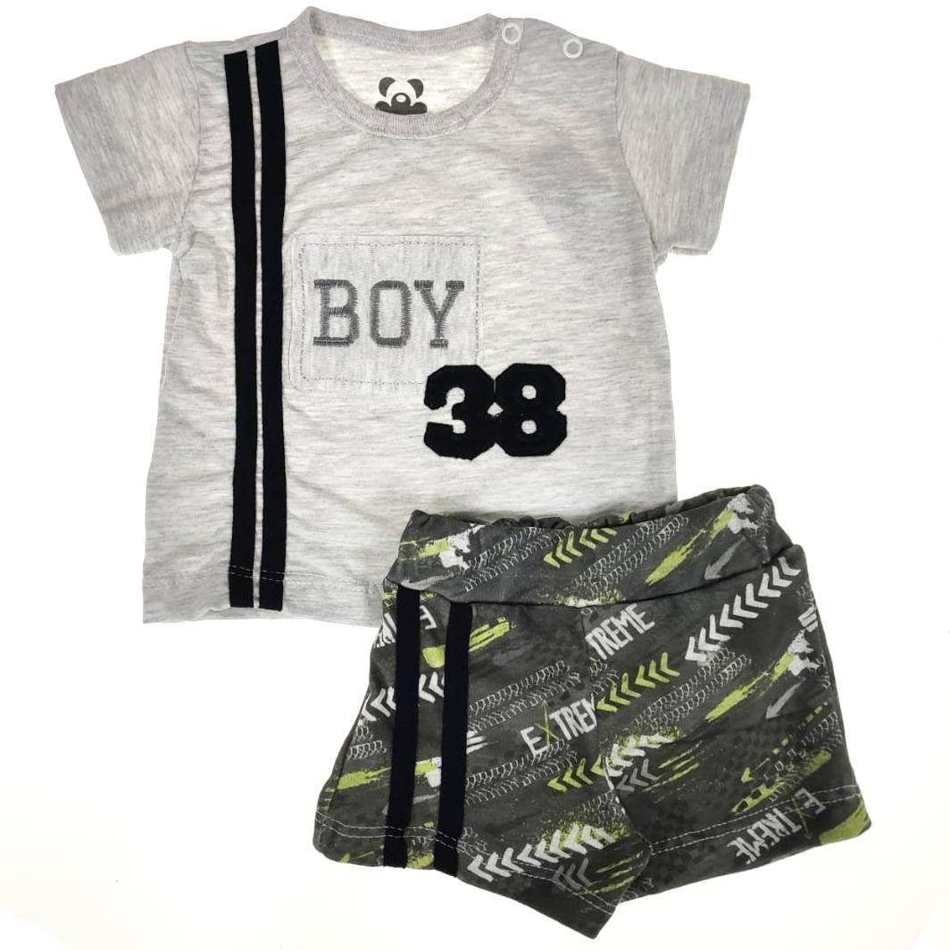 Conjunto Curto Bebê Mescla Boy 38
