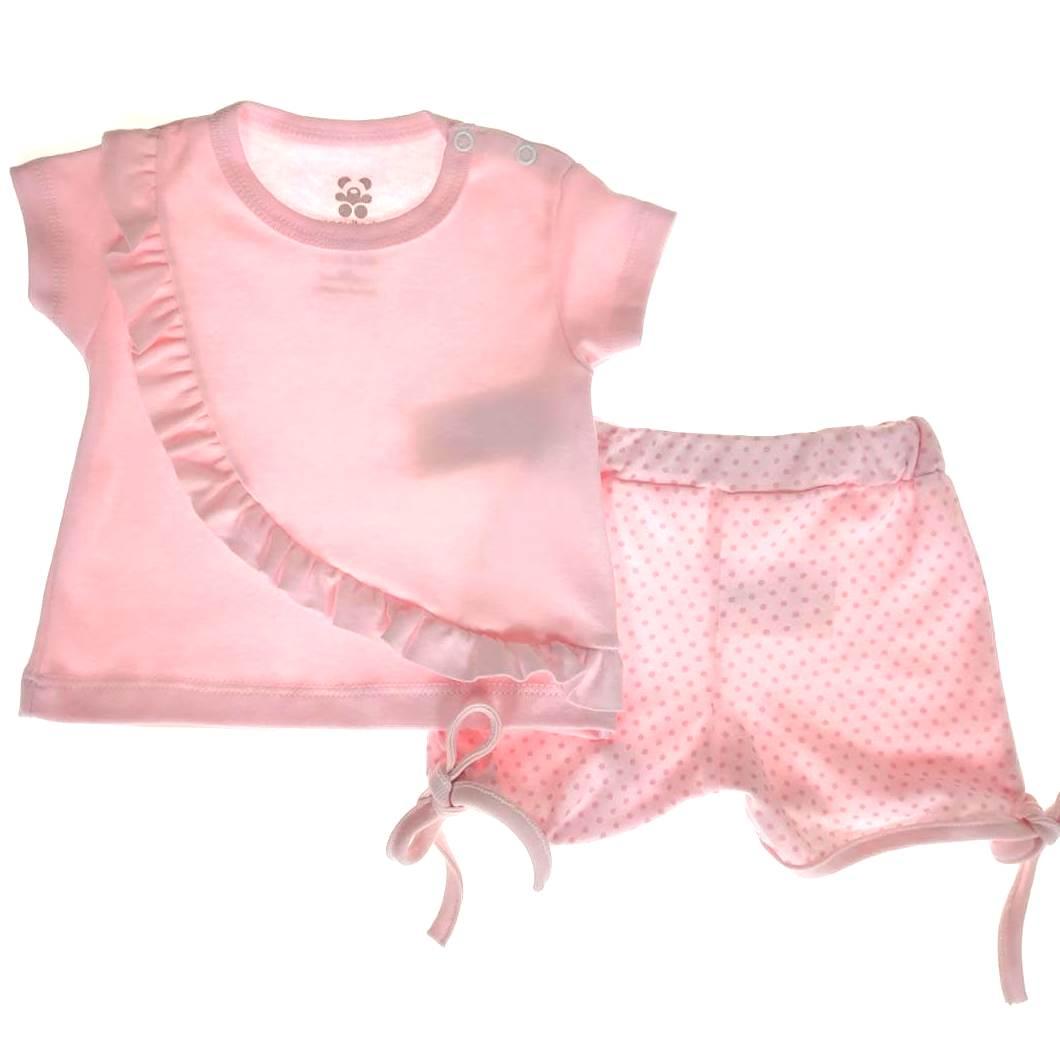 Conjunto Curto Bebê Rosa com Detalhes