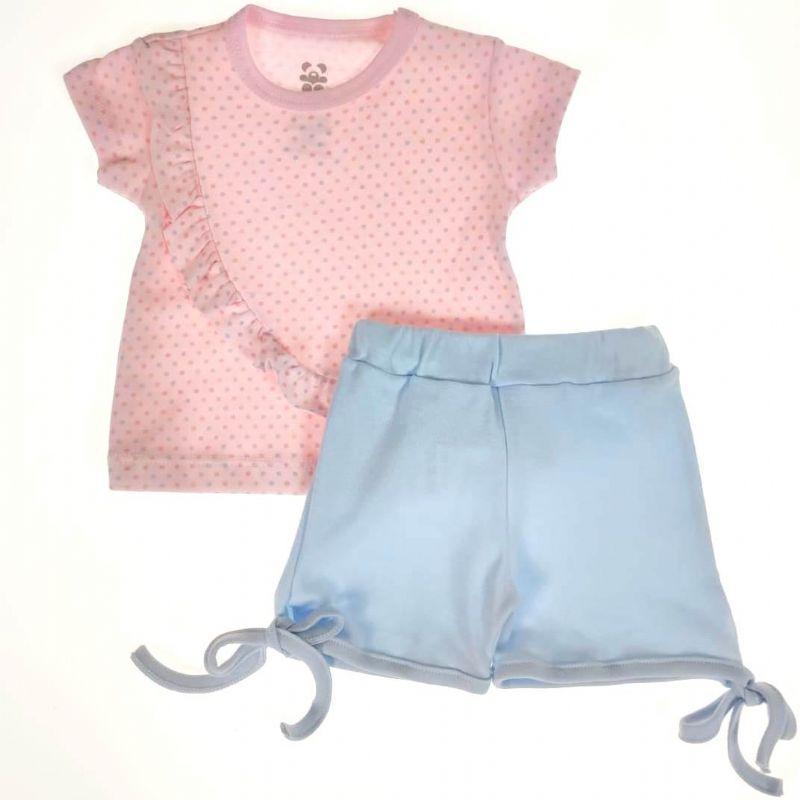 Conjunto Curto Bebê Rosa e Azul de Lacinho