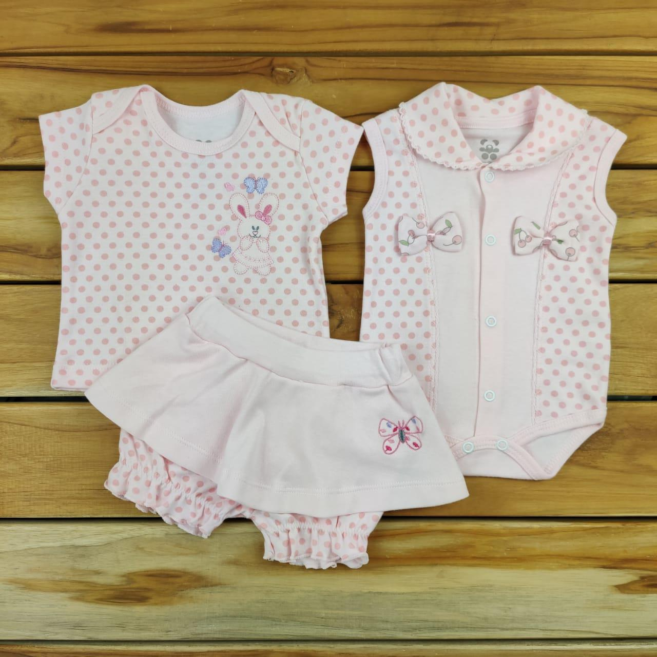 Conjunto Curto Bebê Rosa Poá