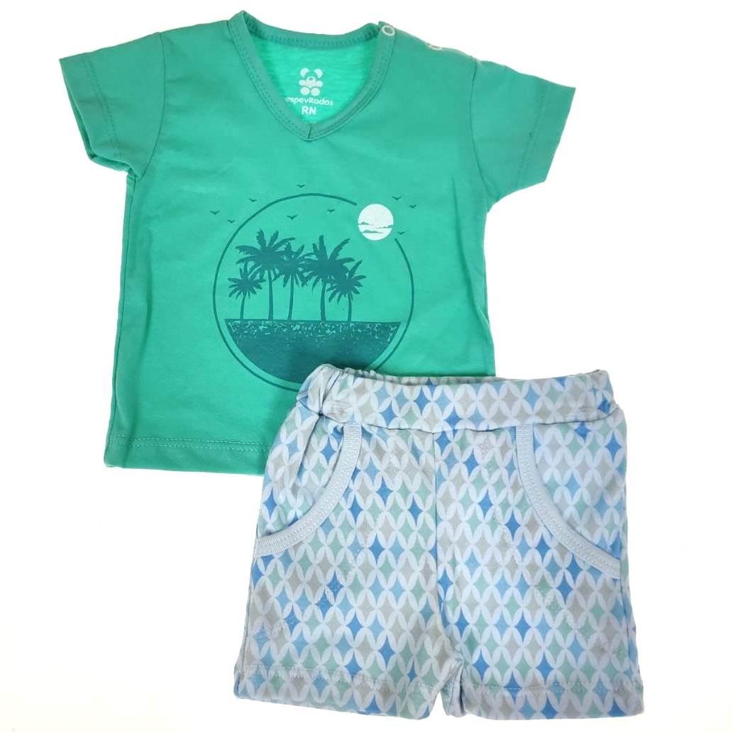 Conjunto Curto Bebê Verde