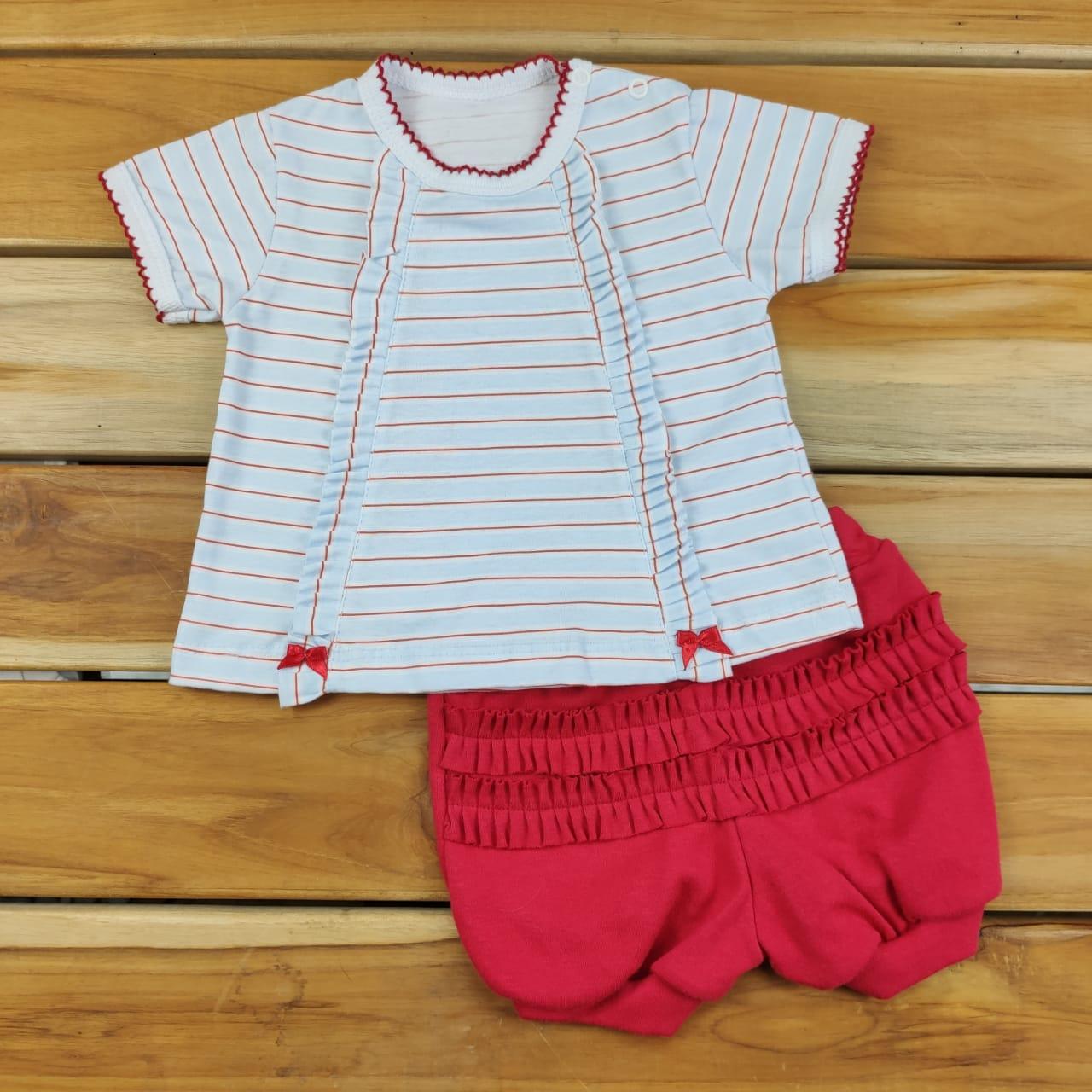 Conjunto Curto Bebê Listrado Vermelho e Branco
