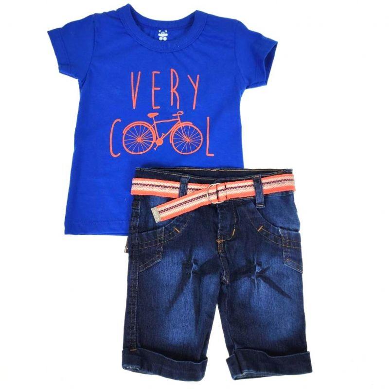 Conjunto Curto Camiseta Azul Bike e Shorts Jeans