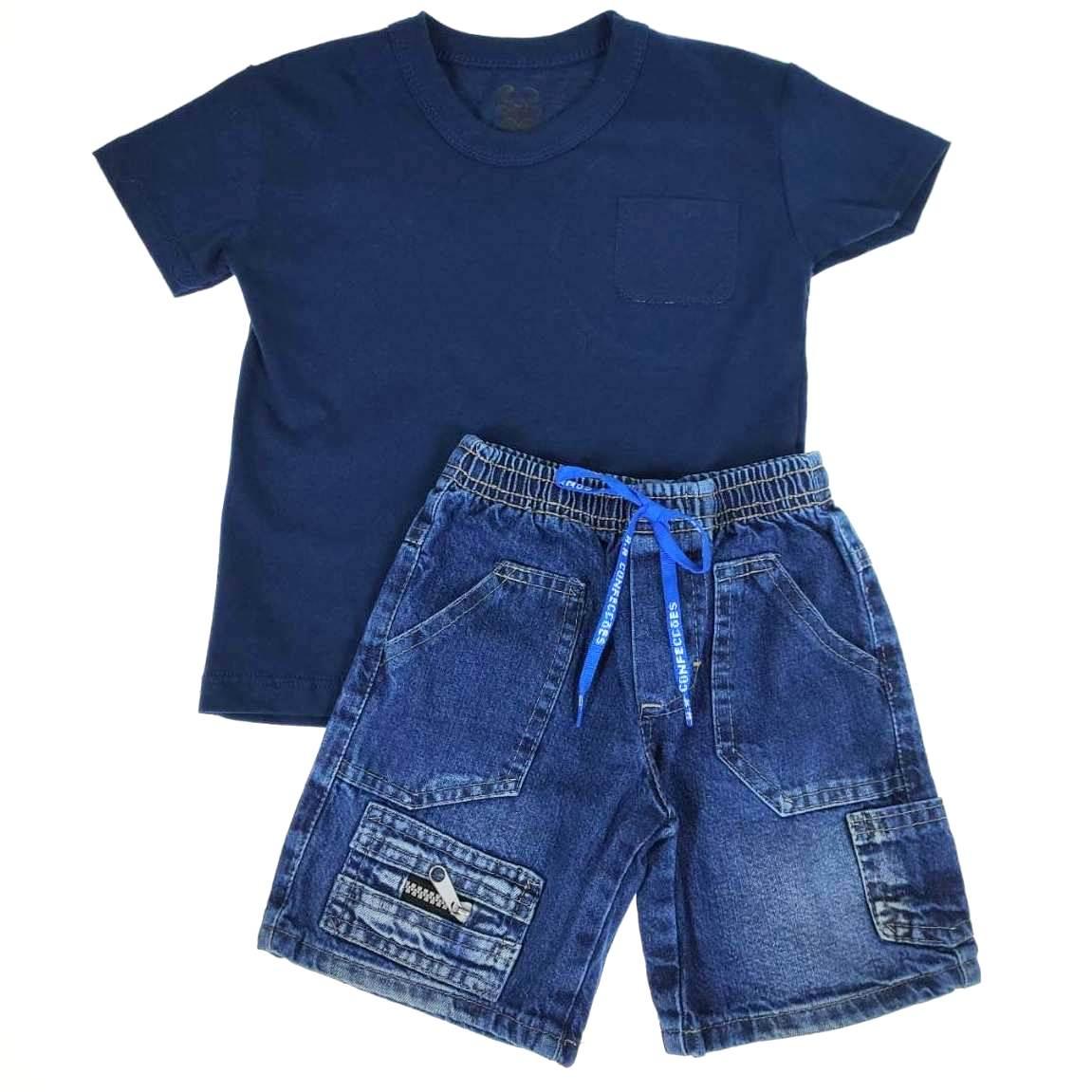 Conjunto Curto Camiseta Azul Bolso e Shorts Jeans