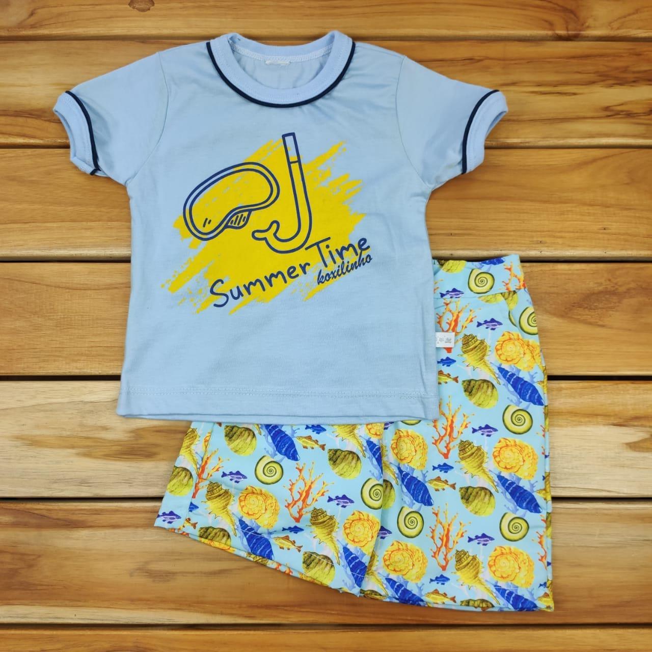 Conjunto Curto Camiseta Azul com Shorts Summer Kox
