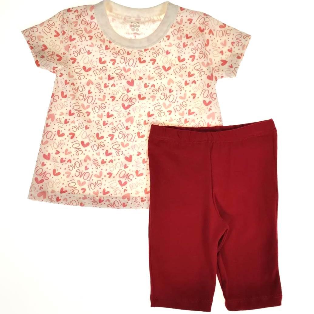 Conjunto Curto Camiseta Cru Love e Bermuda Vermelha