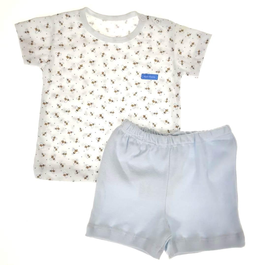 Conjunto Curto Camiseta e Shorts Branco Abelha