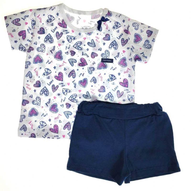 Conjunto Curto Camiseta e Shorts Branco Love