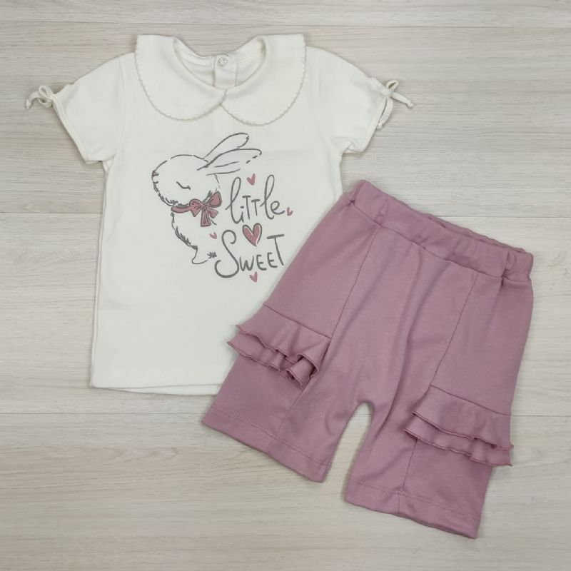 Conjunto Curto Camiseta e Shorts Cru e Rosa