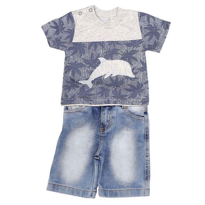 Conjunto Curto Camiseta e Shorts Jeans