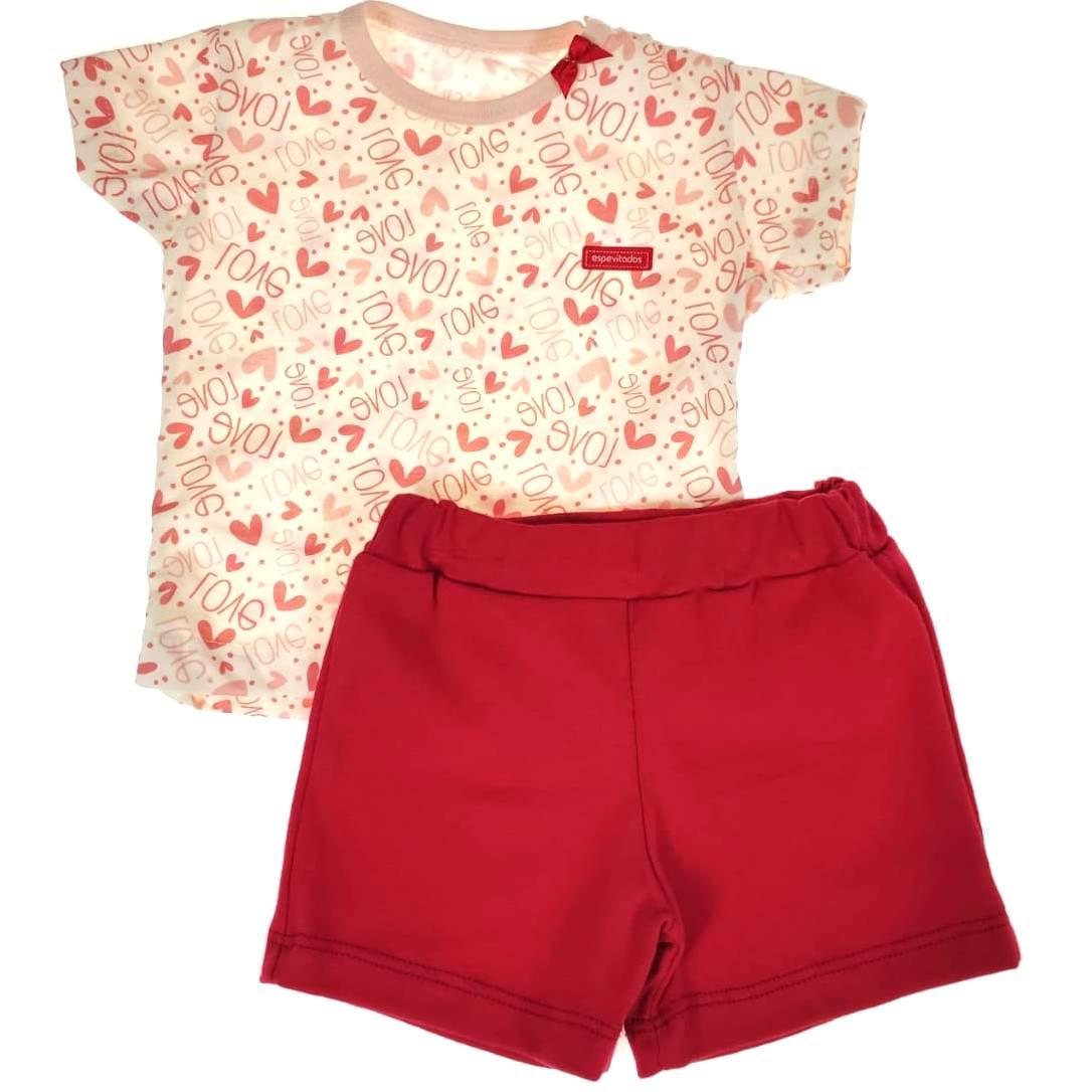 Conjunto Curto Camiseta e Shorts Vermelho Love