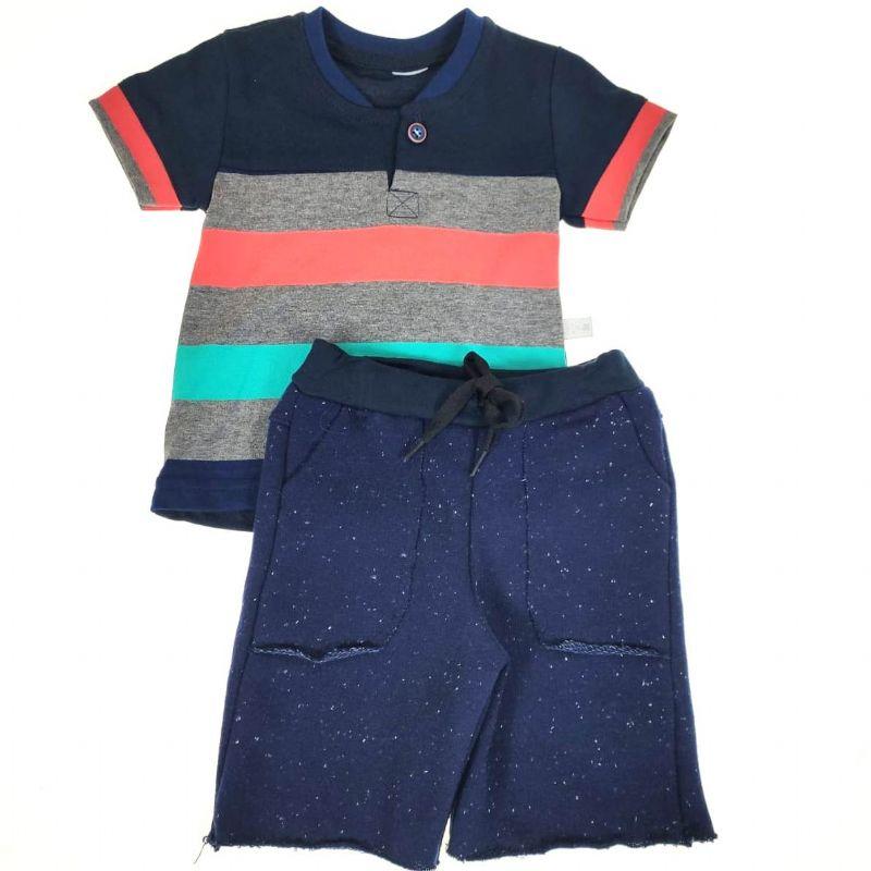 Conjunto Curto Camiseta Listrada Bermuda Moletom Kox