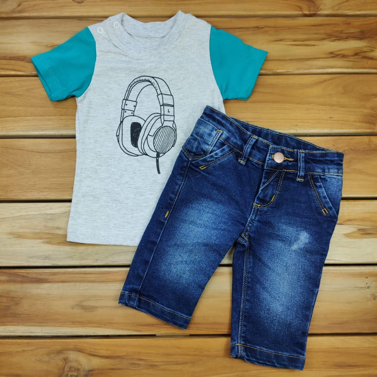 Conjunto Curto Camiseta Mescla Bermuda  Jeans Kox