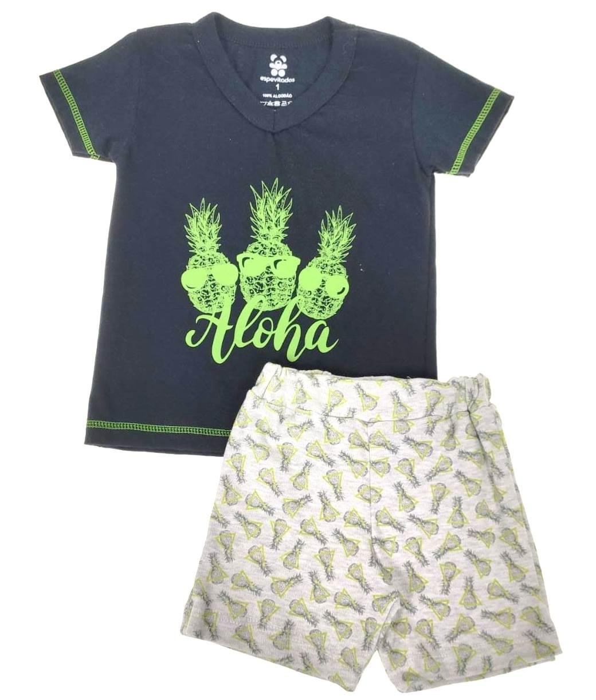 Conjunto Curto Infantil Preto Aloha