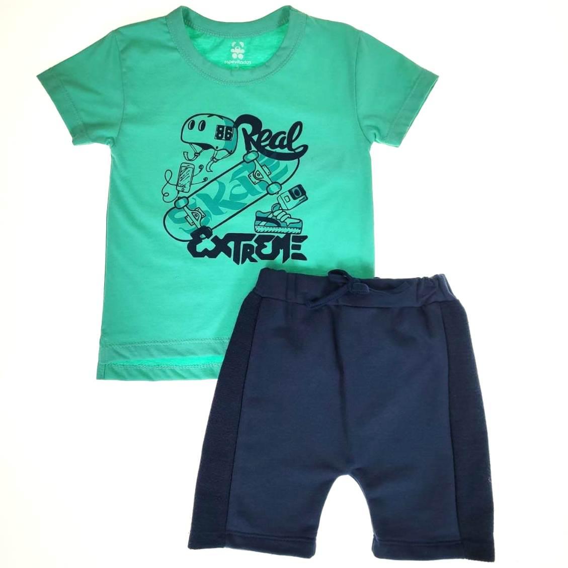 Conjunto Curto Infantil Verde Skate