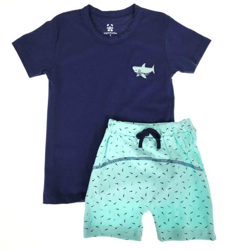 Conjunto Curto Infantill Azul Tubarão