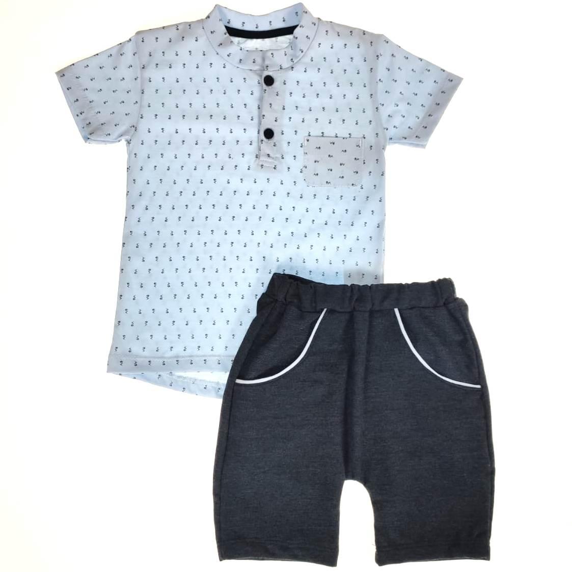Conjunto Curto Kids  - Azul e Preto Moletinho