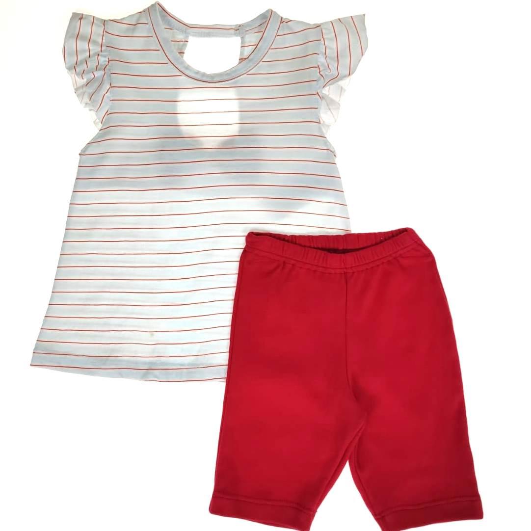 Conjunto Curto Kids - Listrado Vermelho e Branco