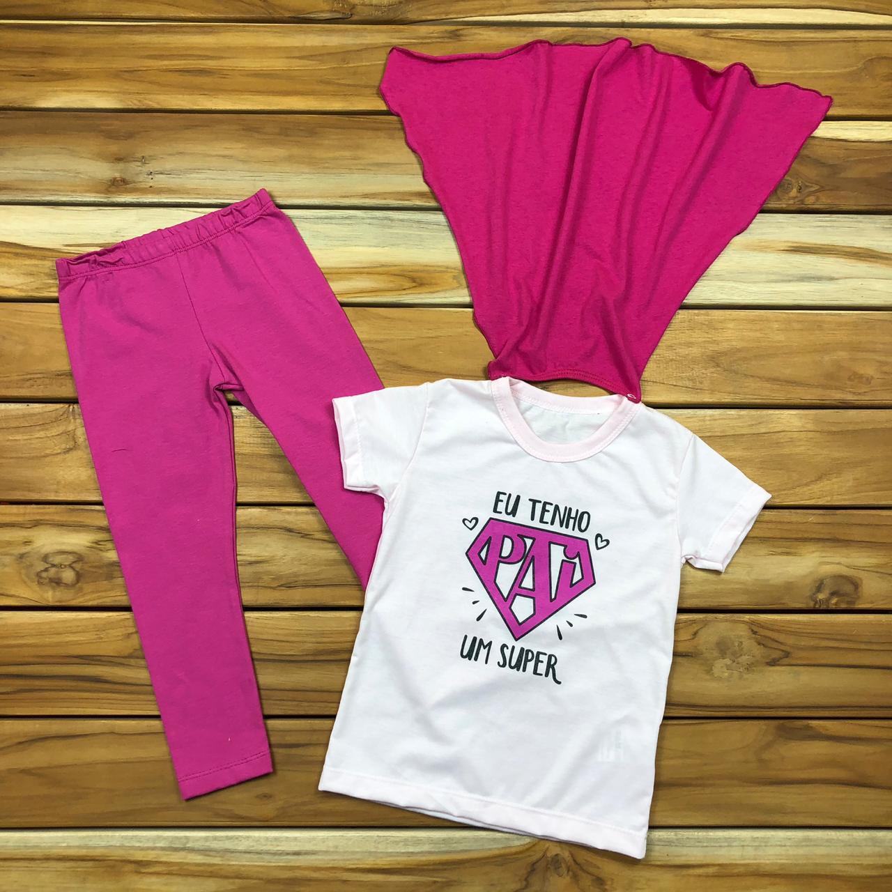 Conjunto Infantil Branco e Pink Super Pai