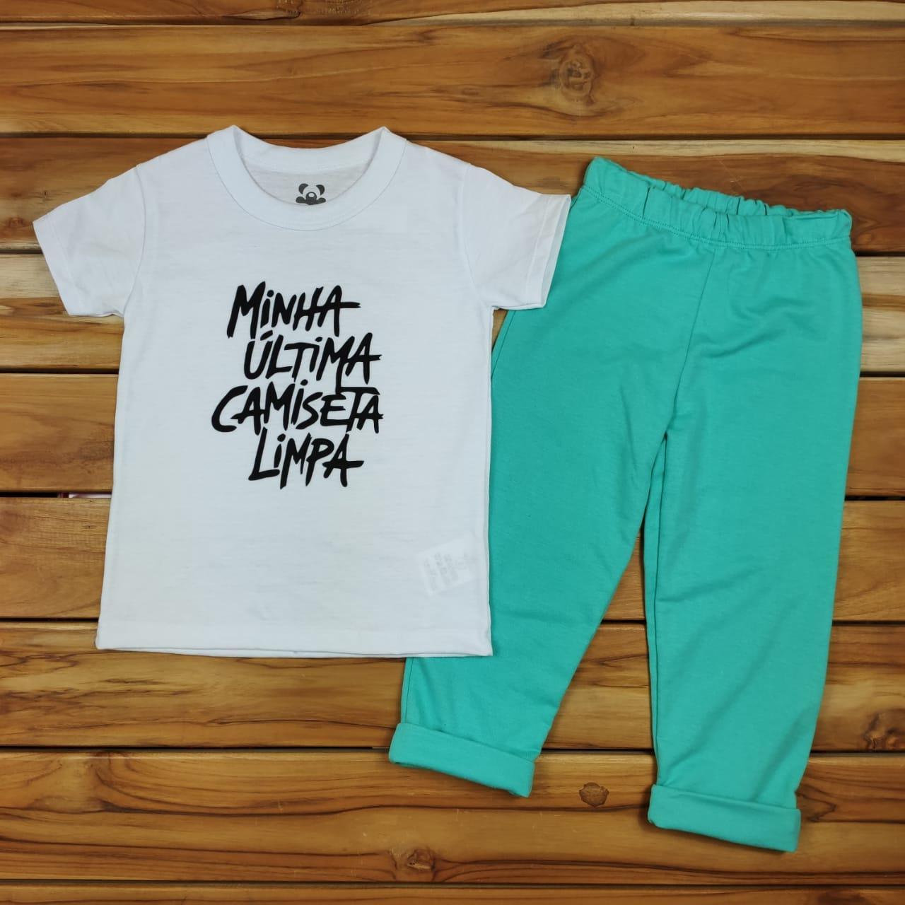 Conjunto Infantil Branco e Verde Minha Última Camiseta Limpa