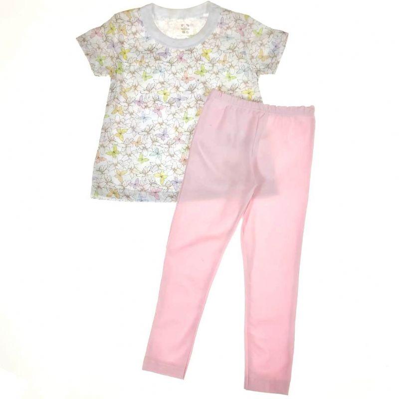 Conjunto Infantil Camiseta Branca e Calça Rosa
