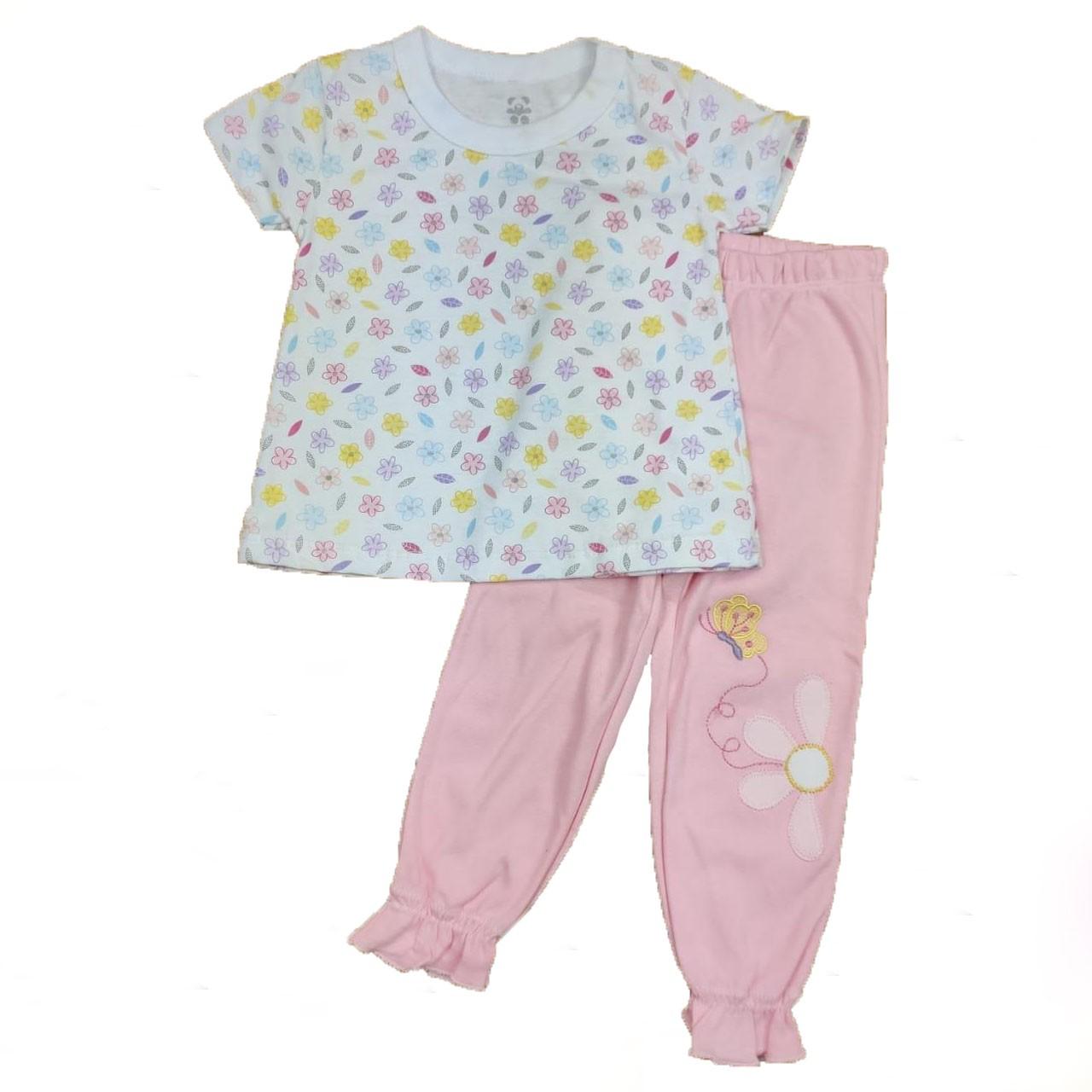 Conjunto Infantil Camiseta Branca e Calça Rosa Bordado