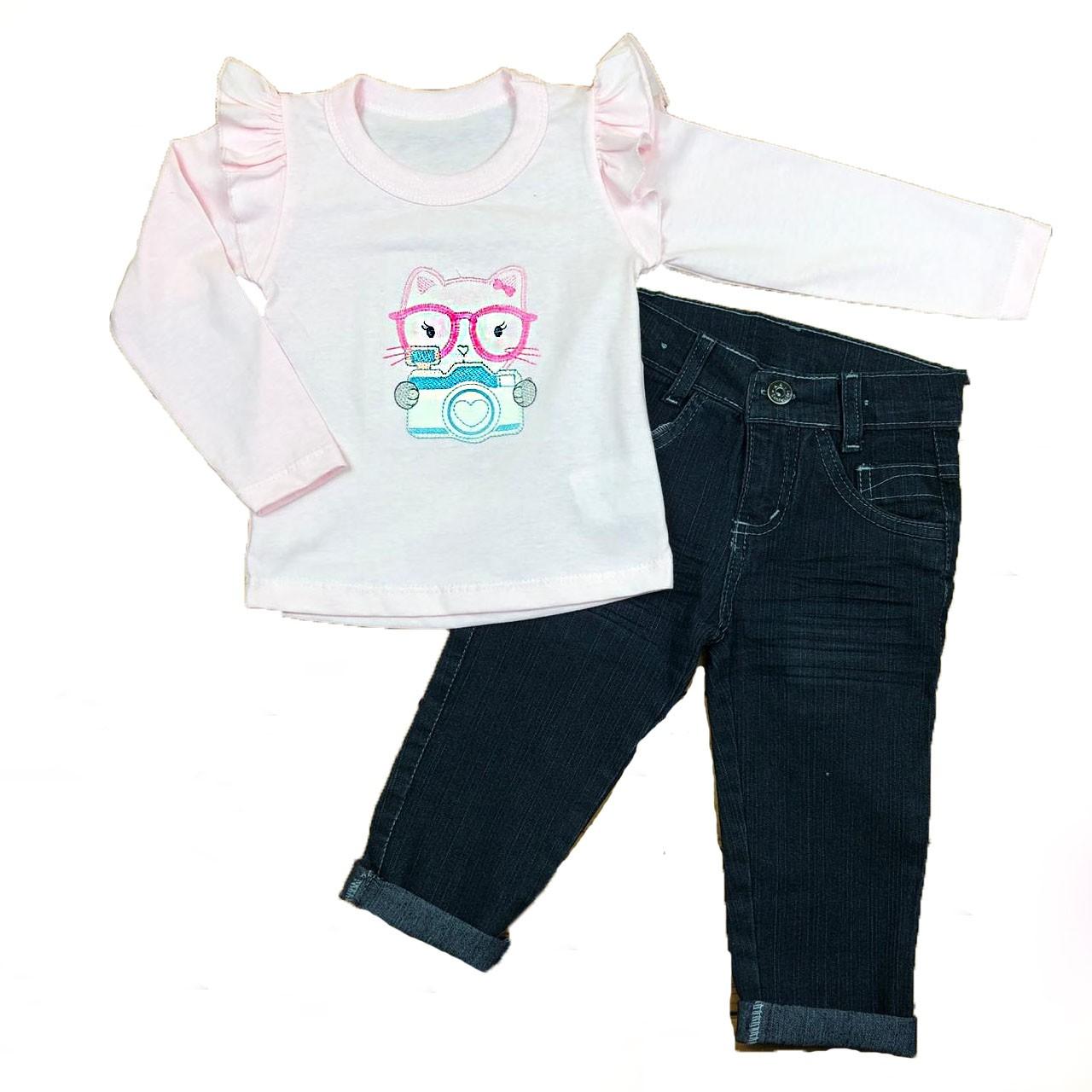 Conjunto Infantil Camiseta e Calça jeans