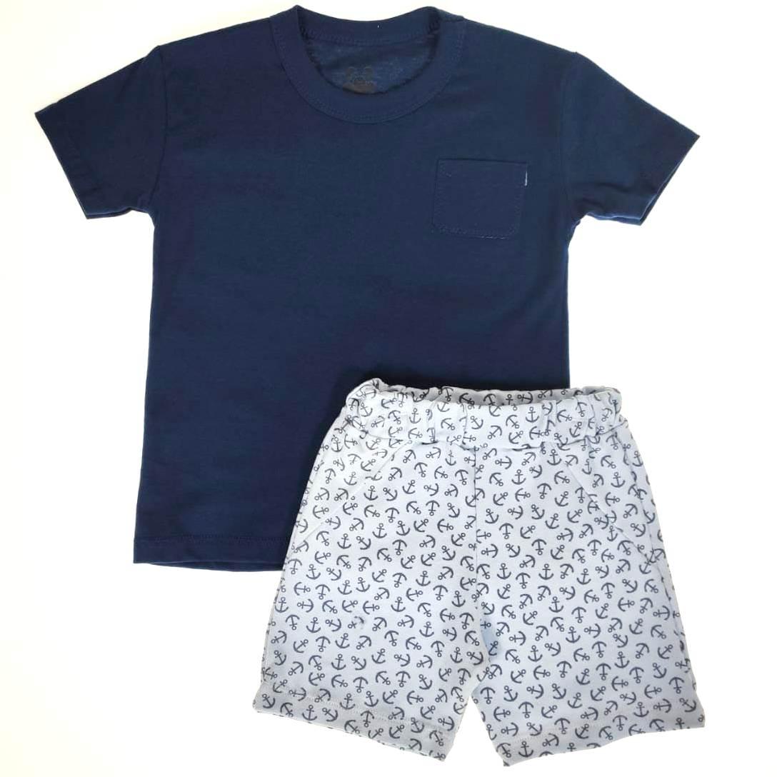 Conjunto Infantil Camiseta e Shorts Âncora