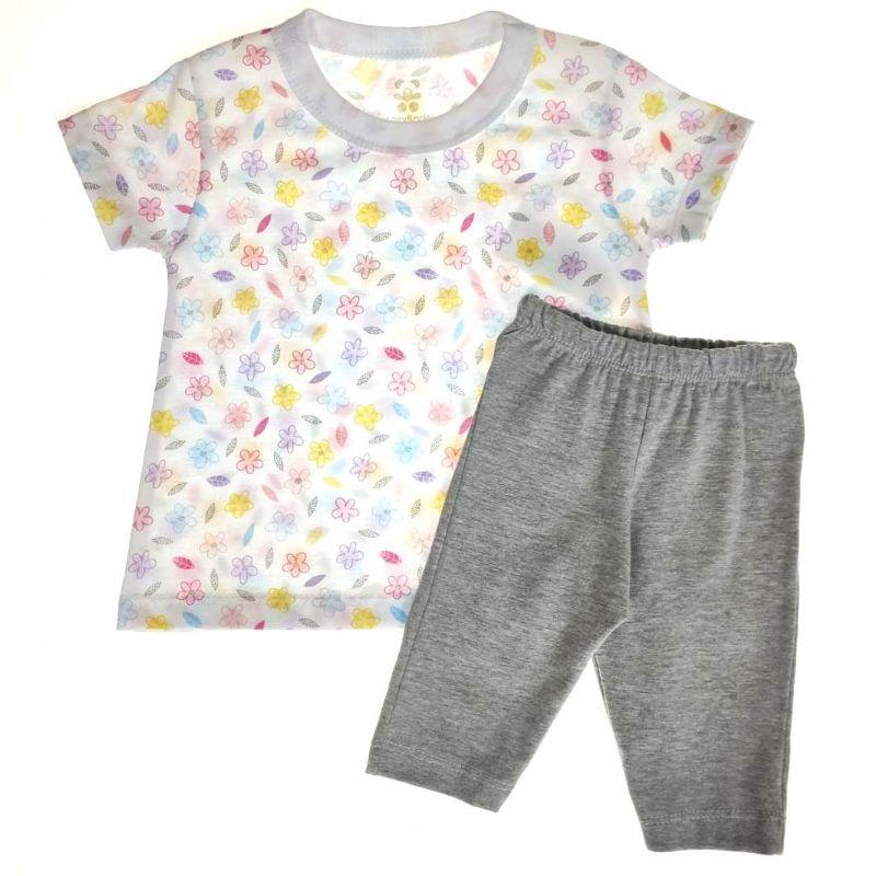Conjunto Infantil Camiseta e Shorts Flores