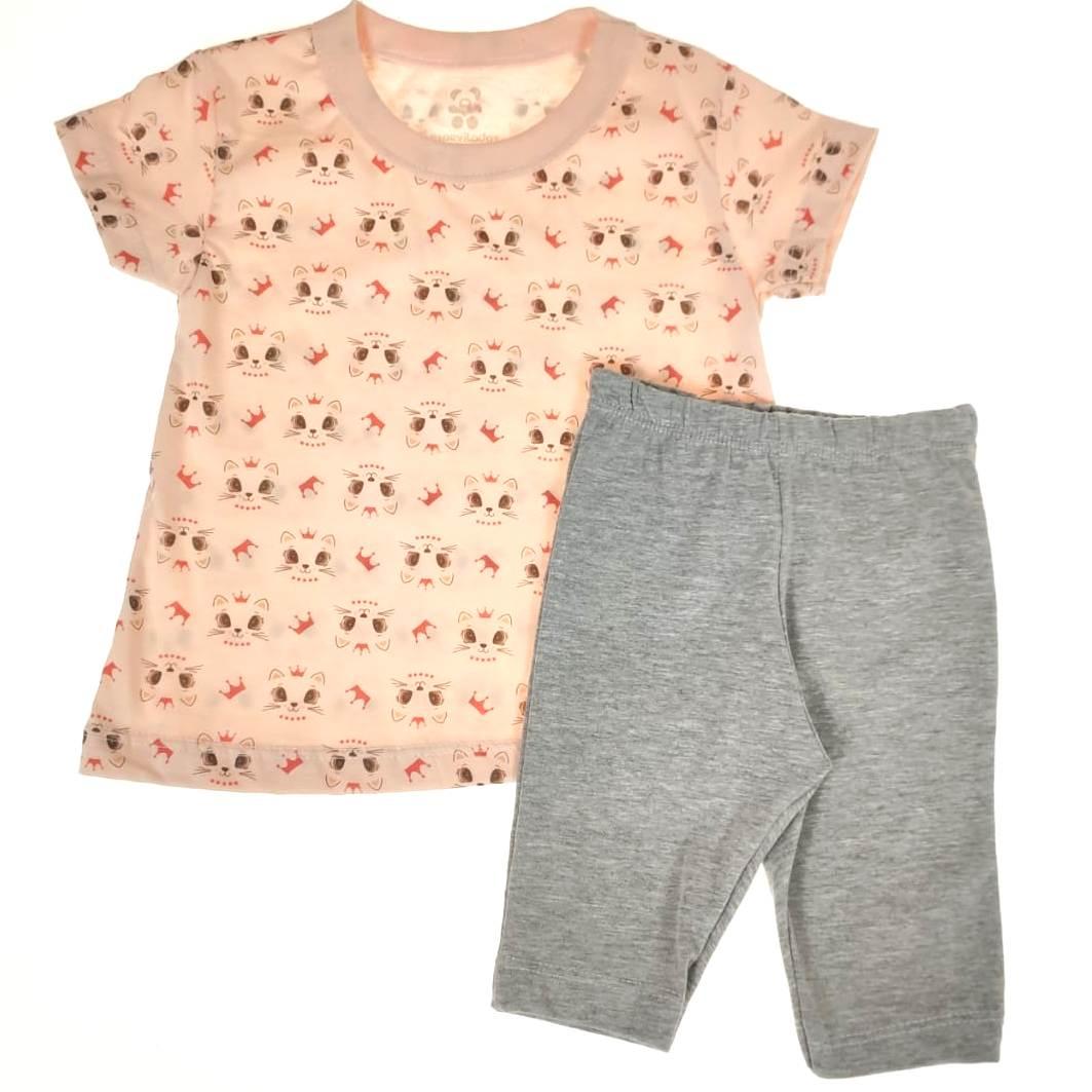 Conjunto Infantil Camiseta e Shorts Gatinha