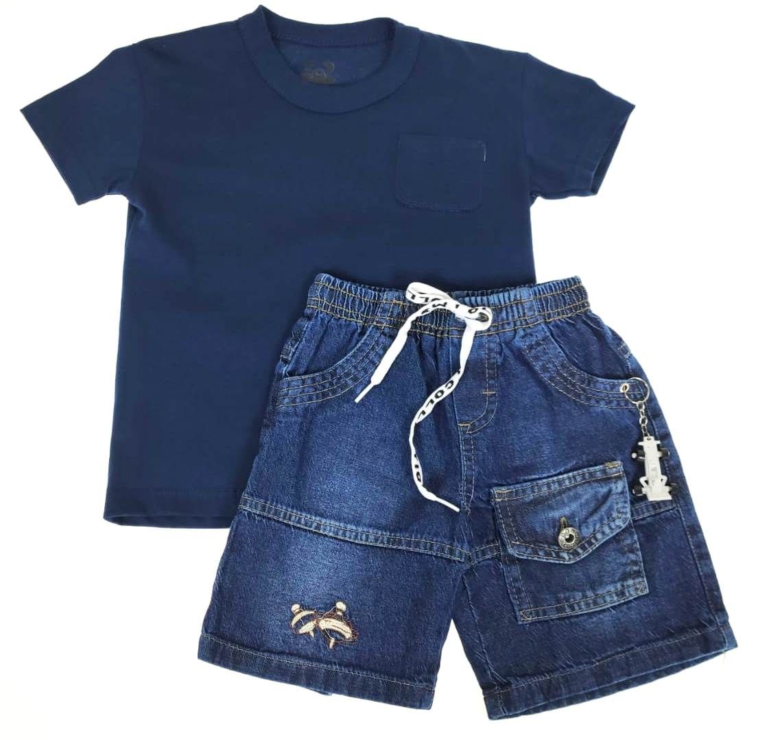 Conjunto Infantil Camiseta e Shorts Jeans