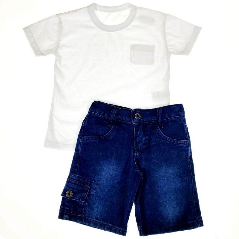 Conjunto Infantil Camiseta e Shorts Jeans #PROMODODIA