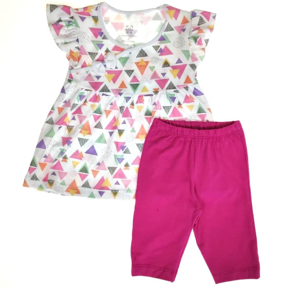 Conjunto Infantil Camiseta e Shorts Rosa