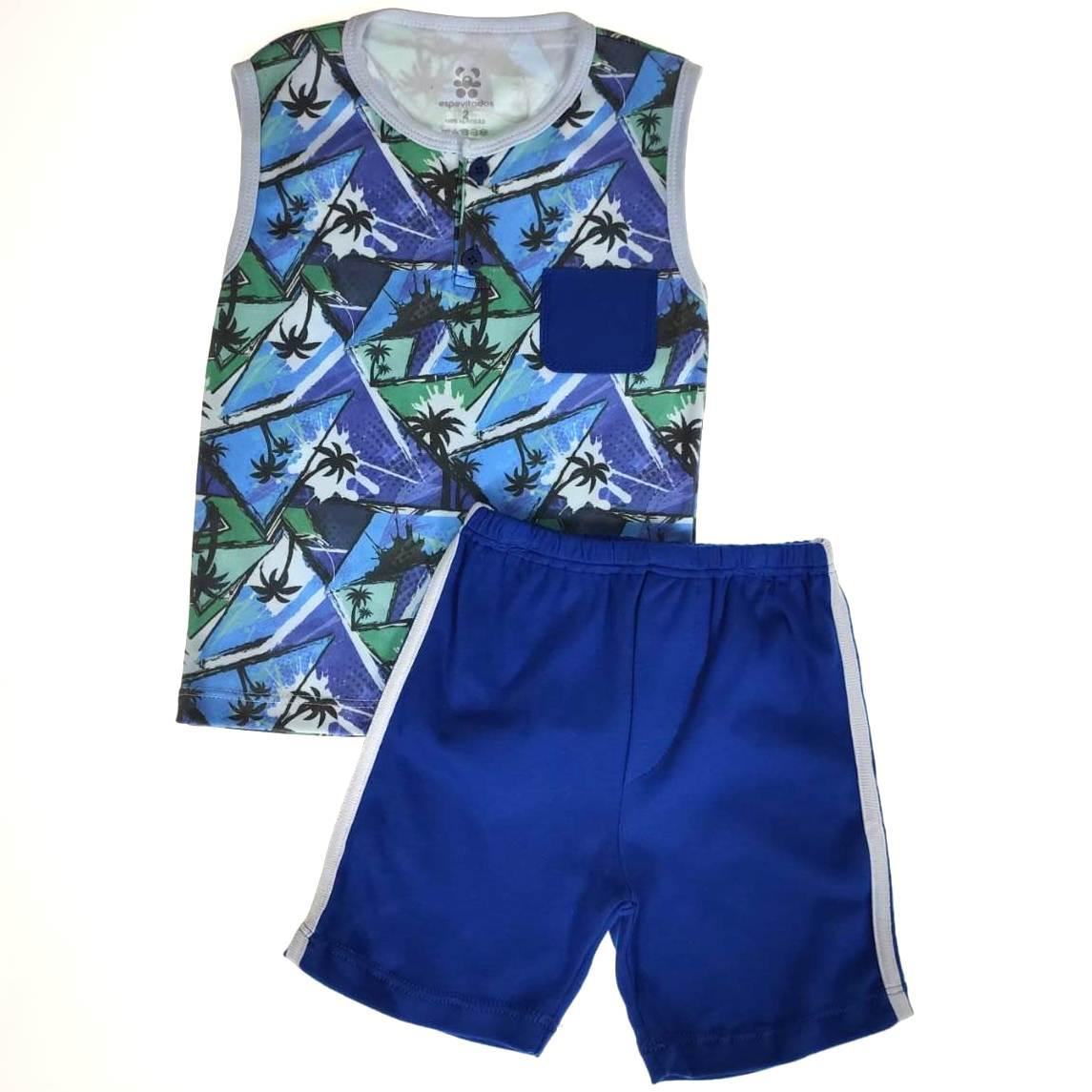 Conjunto Infantil Camiseta Regata e Shorts Coqueiros