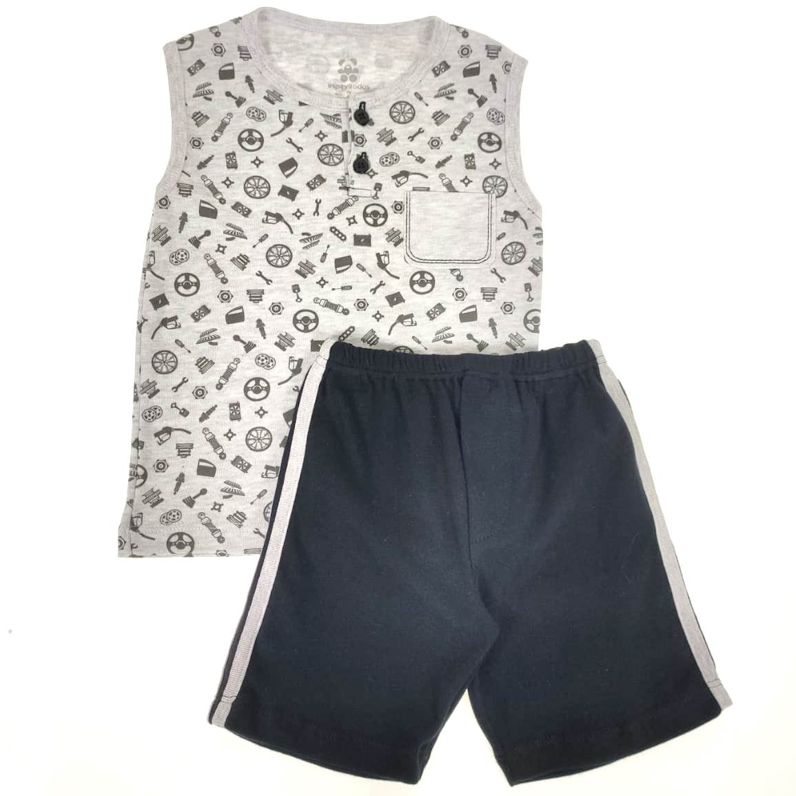 Conjunto Infantil Camiseta Regata e Shorts Estampa