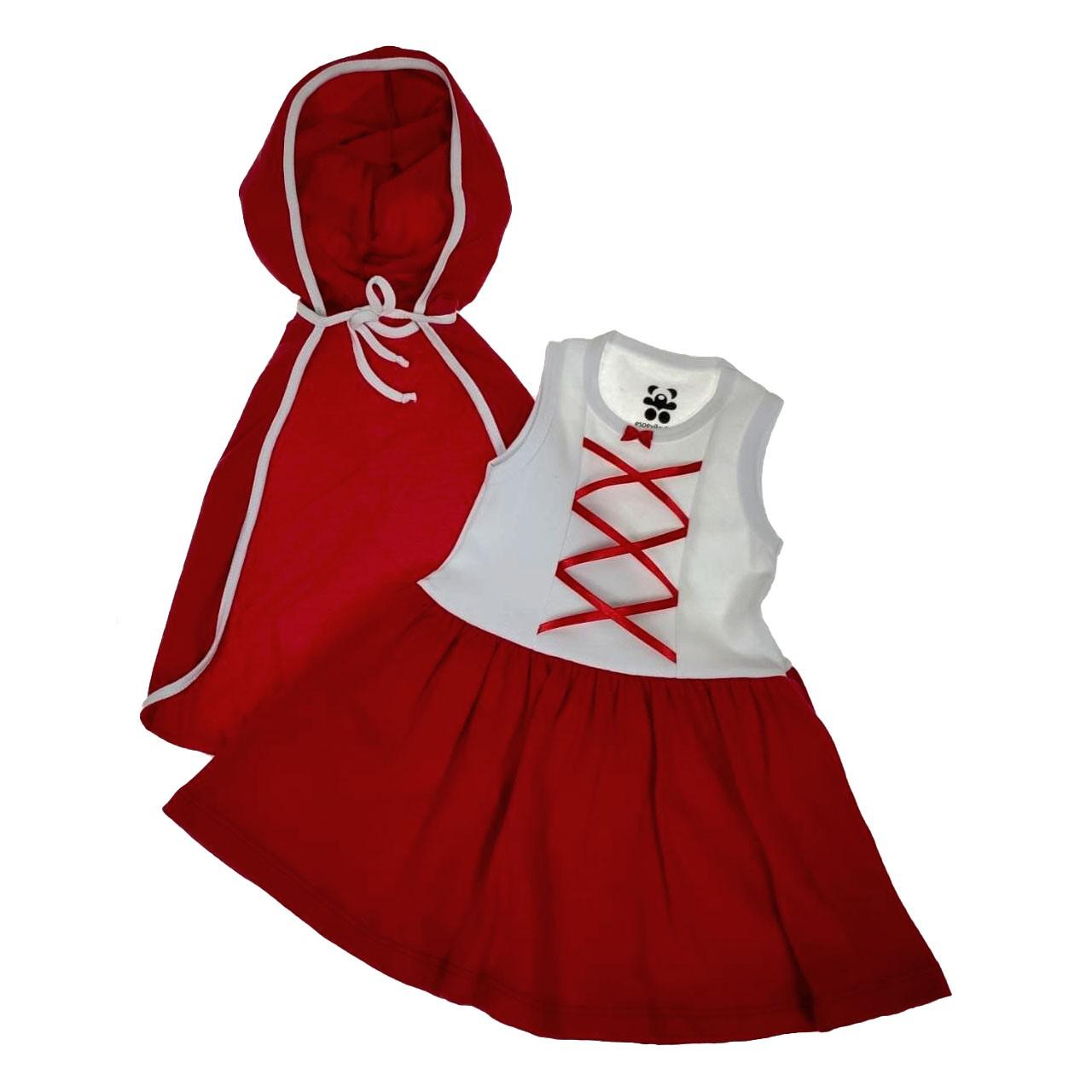 Conjunto Infantil Vestido Chapéuzinho com Capuz Fantasia