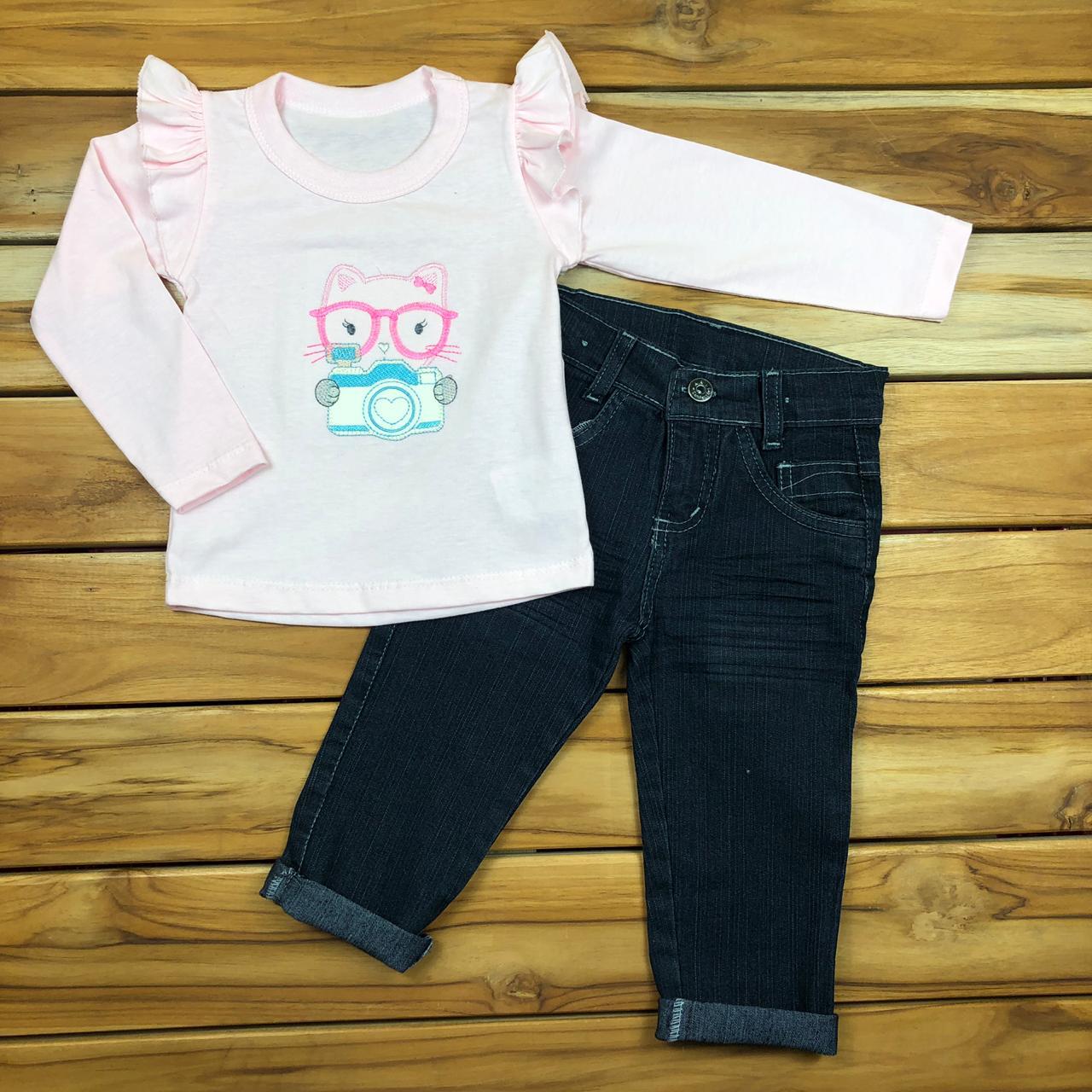Conjunto Infantill Camiseta e Calça jeans
