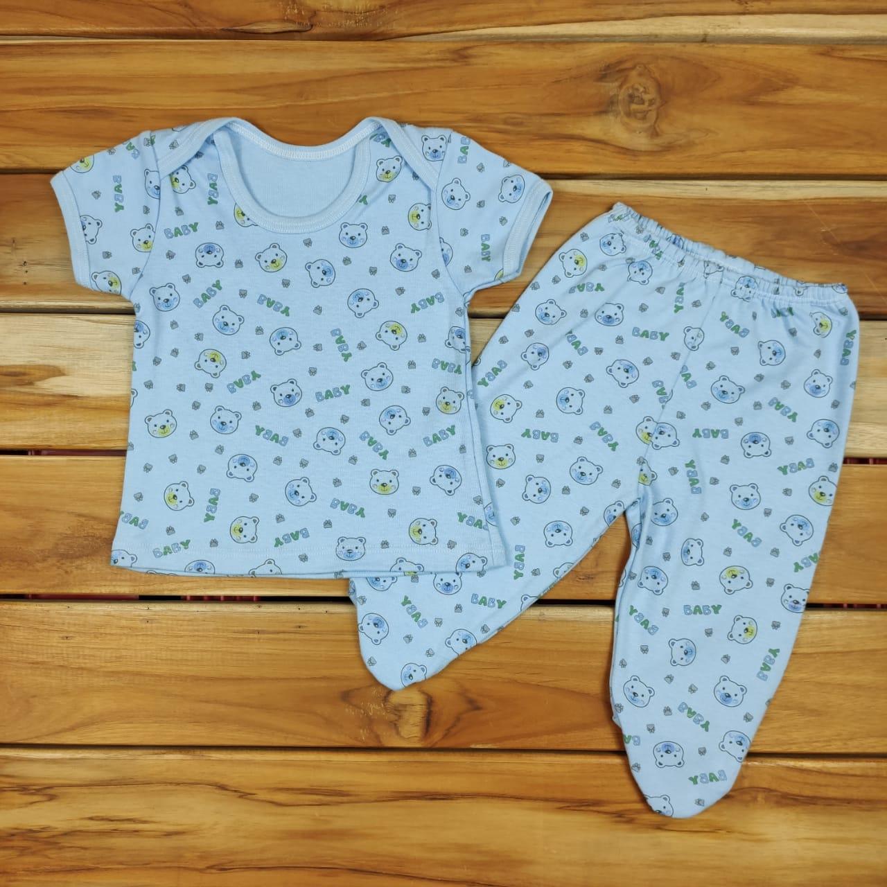 Conjunto Longo Bebê Azul de Ursinhos