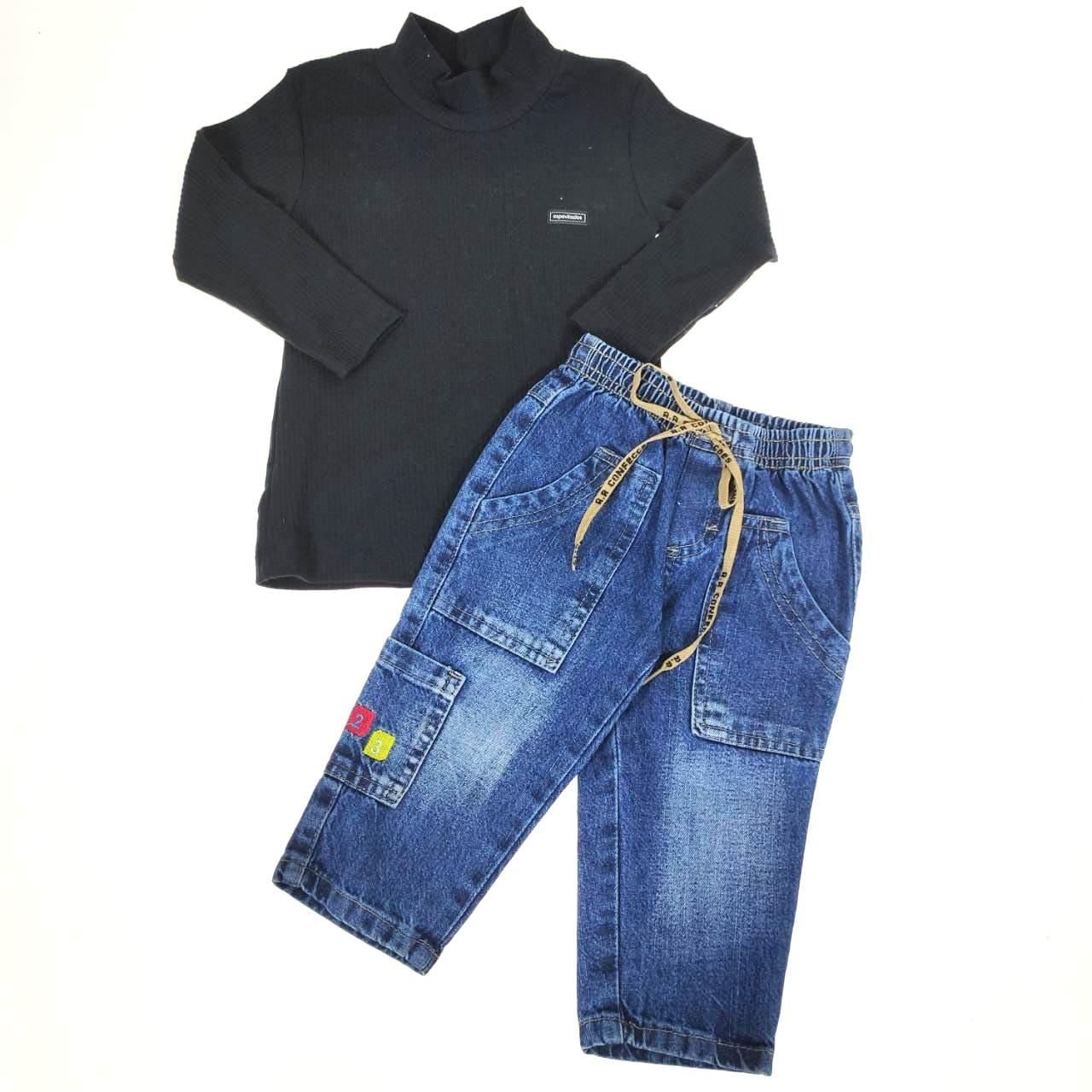 Conjunto Longo Camiseta e Calça Jeans