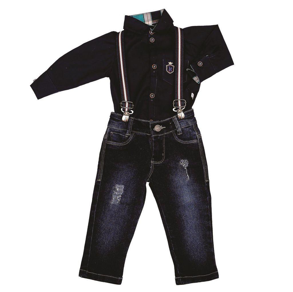 Conjunto Longo Jeans com Suspensorio