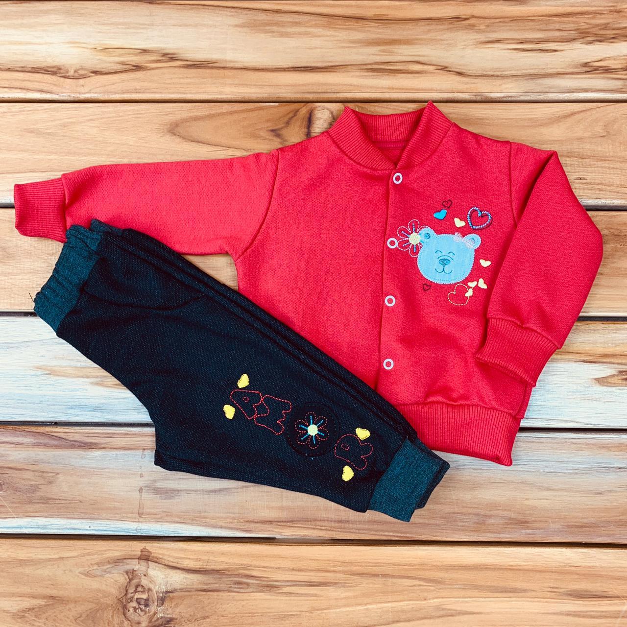 Conjunto Moletom Bebê Vermelho