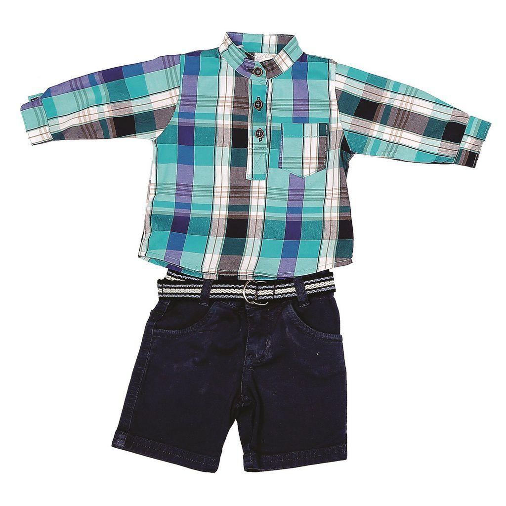 Conjunto Shorts Jeans e Camisa Xadrez Azul