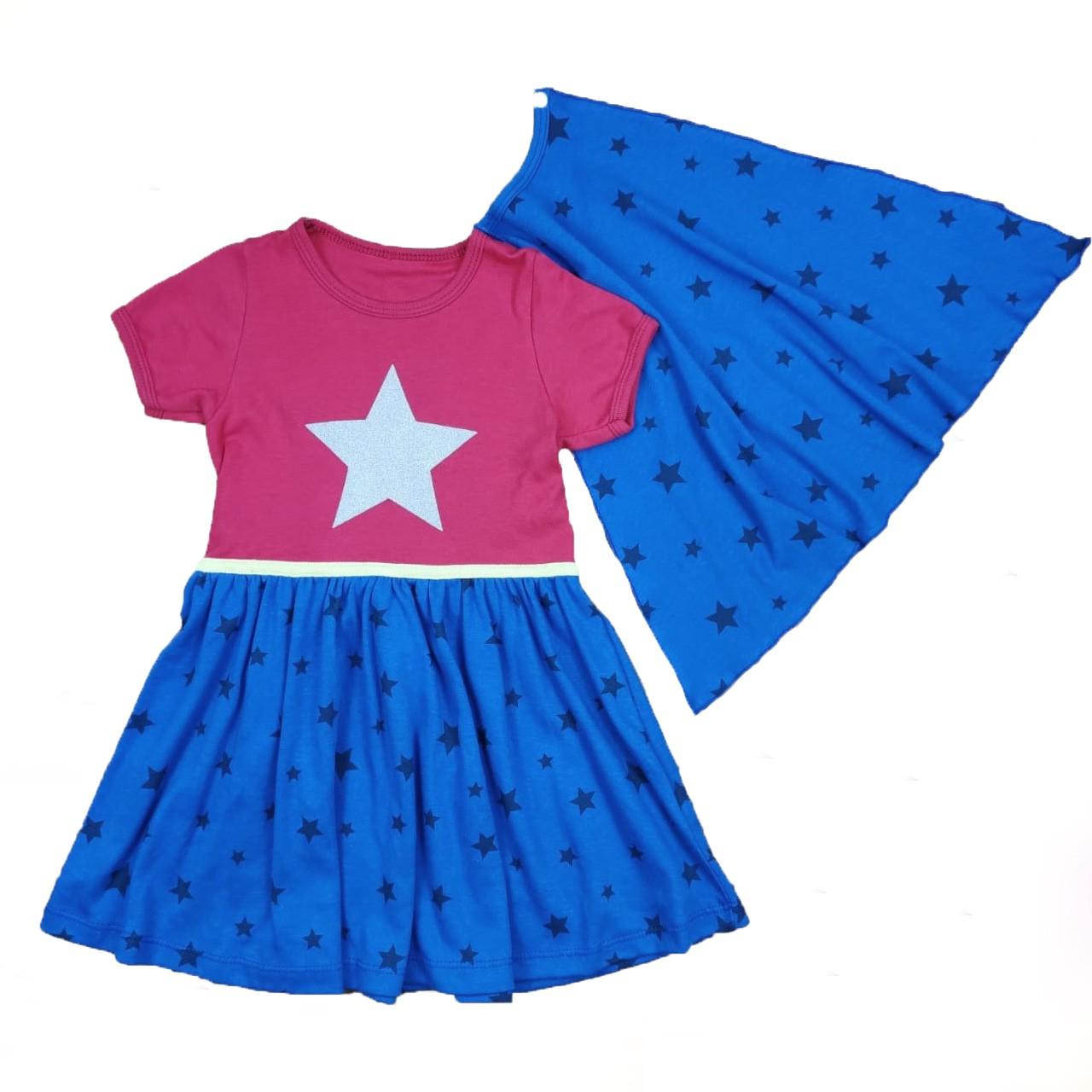 Conjunto Vestido Infantil Maravilha com Capa Fantasia