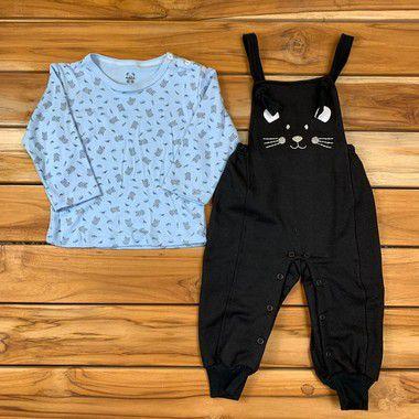 Jardineira com Camiseta bebê Azul e Preto