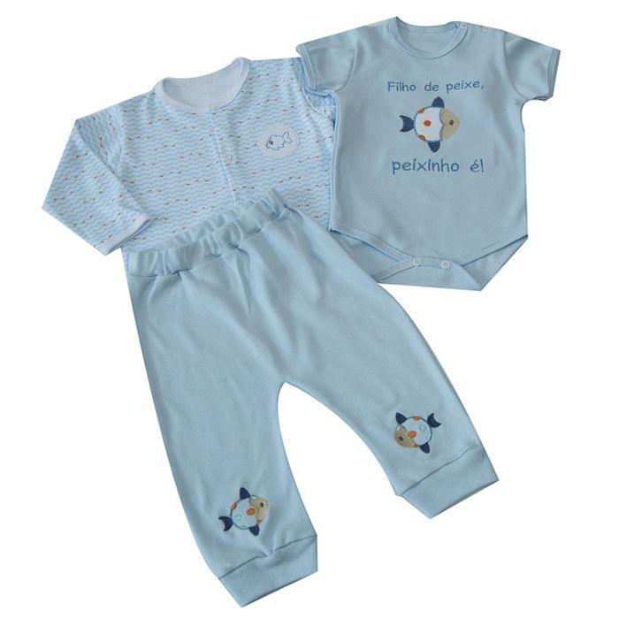Kit Bebê 3 Peças Azul