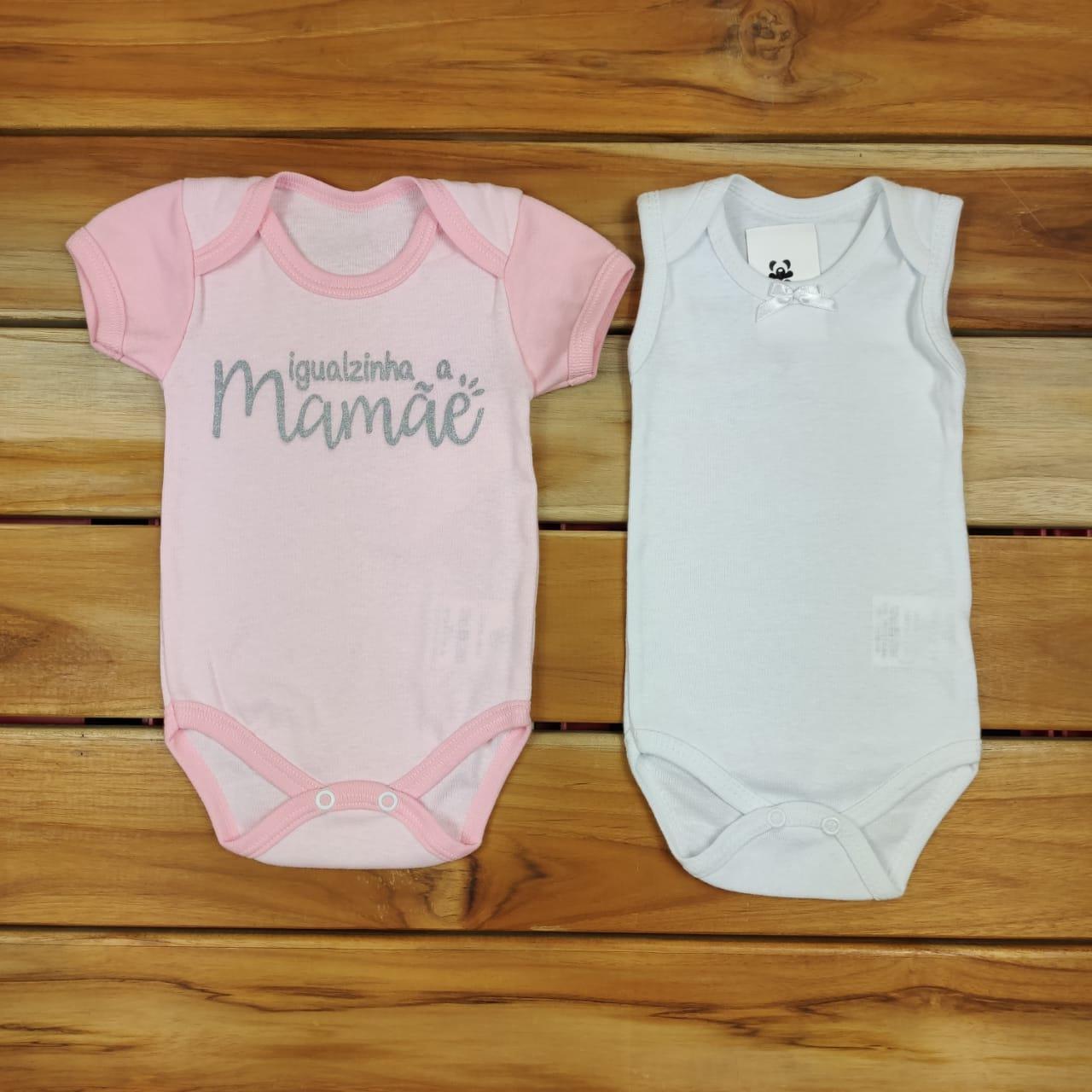 Kit Bebê Body 2 Peças Rosa e Branco Igualzinha a Mamãe